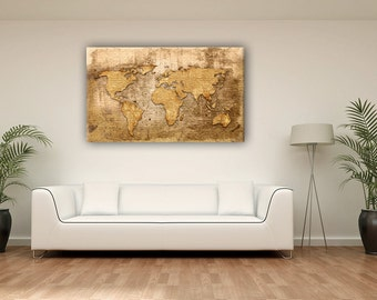 Gold world map canvas etsy gold color vintage world map canvas print wall decor school nursery gift gumiabroncs Choice Image