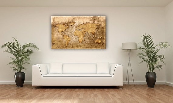 Couleur or vintage world map canvas print decoration murale for Decoration murale carte du monde