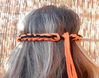 Womens Halloween headband, Orange and black headband Fall crochet headband adult Hippie Halloween costume women Hair accessory, Fall fashion