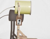Desk lamp / bedside lamp / table lamp, pastel light yellow.... eco friendly: recycled from tomato can ! UK or EURO or US or Australia plug