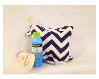Bring On SUMMER Sale  Small Water-Resistant Bag, Dry Bag, Wet Bag, Zippered Pouch, Travel Bag, Navy White Chevron, Yoga Wet Bag