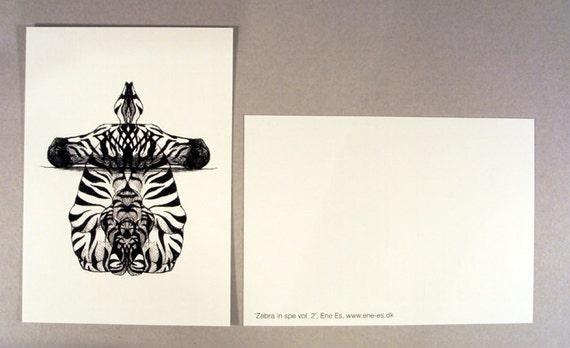 Z bre motif en miroir dessin fait la main carte postale for Miroir zebre