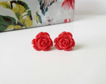 Red rose earrings, red rose stud earrings, resin rose earrings, red flower earrings, flower earrings with gold posts, red stud earrings