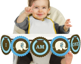 Blue Elephant - 1st Birthday - I Am One - First Birthday High Chair Banner - First Birthday Party Decorations
