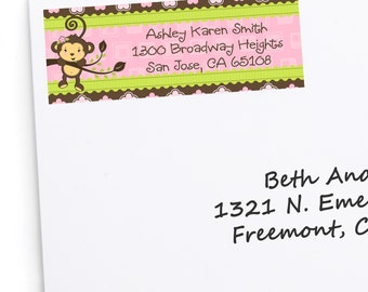 Custom Pink Monkey Girl Address Labels - Personalized Baby Shower or Birthday Party Supplies - 30 Label Stickers per Set
