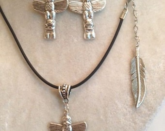 Totem Pendant Necklace and Earring Set