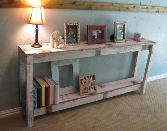 Rustic Sofa Table in Farmhouse White
