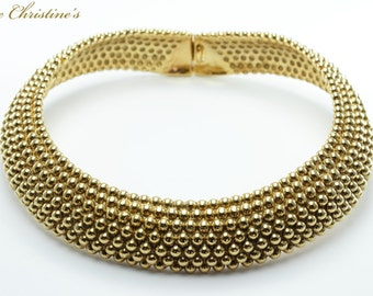 Vintage YSL necklace, 7 row articulated beaded choker, 109mm, 193g - TZV050152