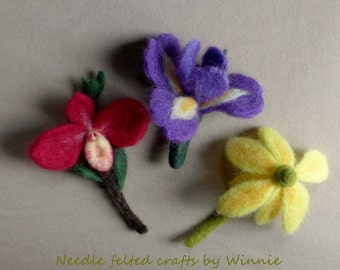 Needle felted flower brooch each sold individually