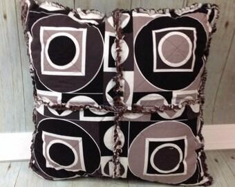 Rag Pillow- Black, Brown & Tan