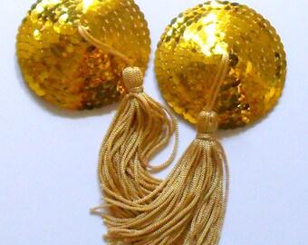 BURLESQUE Gold Round Sequin Nipple Tassels Pasties Covers