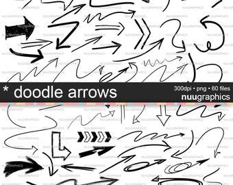 """Arrows clip art: """"DOODLE ARROWS"""" arrow clipart, hand drawn arrows, doodles, doodle clipart"""