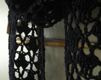 Black Crochet Lace Scarf