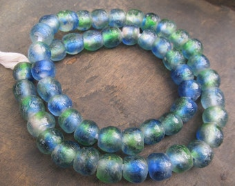 African recycled glass beads (13/14 mm diam.) 1 strand of 35 beads,  blue and green