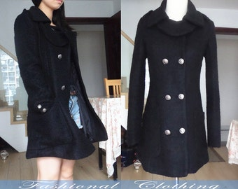 gray black coat wool coat winter coat spring autumn coat warm coat women clothing women coat long sleeve coat jacket outerwear dress