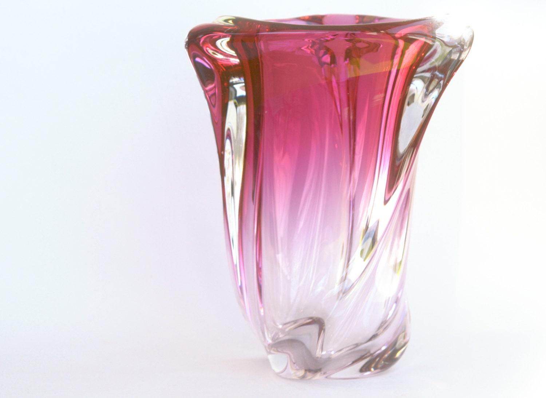Val St. Lambert Crystal Vase 3-Sided Swirl Design in