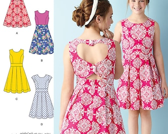 Girls/Girls' Plus Dress with Back Variations Simplicity Pattern 1382