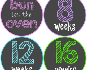 NEW....Personalized Baby Bump Pregnancy Milestone Stickers- The Chalkboard Design... Baby bump sticker, Pregnancy Weekly Sticker, New Mom