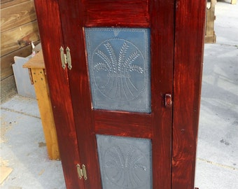 Country Jelly Cabinet W Rustic Wheat Punched Tin Panels
