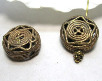 African Tribal Metal Bead Brass and Copper