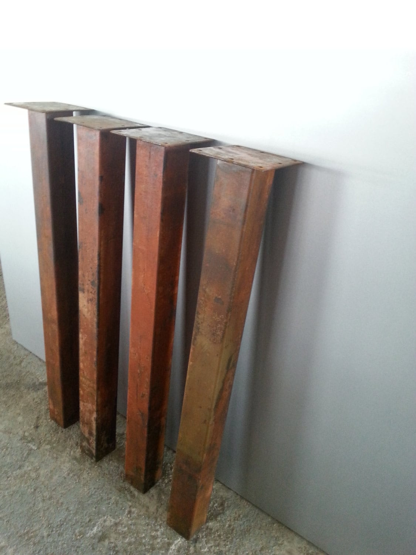 Gamba in ferro ossidato per tavolo e panche vintage altezza cm - Gambe in ferro per tavoli ...