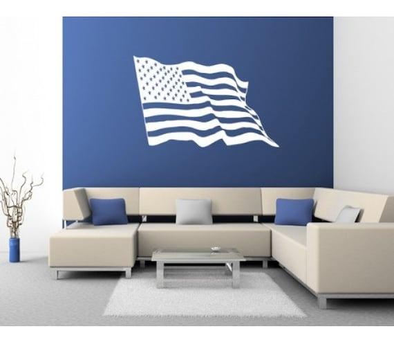American flag wall decal sticker mural vinyl wall art for American flag wall mural