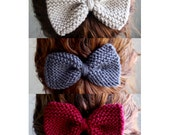 Set of 3 Knit Hair Bows - Red, Grey, Cream - Winter Accessories - Valentines Day