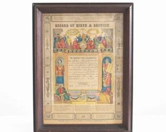 antique record of birth, record of birth, antique baptism record