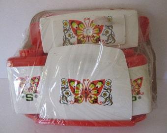 Vintage butterfly napkin holder set, Sterilite Tablemates table service
