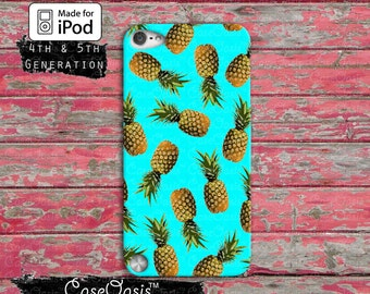 Pineapple Pattern Blue Summer Cute Fruit Tumblr Custom Case iPod Touch 4th Generation or iPod Touch 5th Generation or iPod 6th Gen Rubber