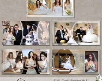 "12x12 Templates ""Classic Photobook"" Vol.1 (PSD) 5 layered double templates"