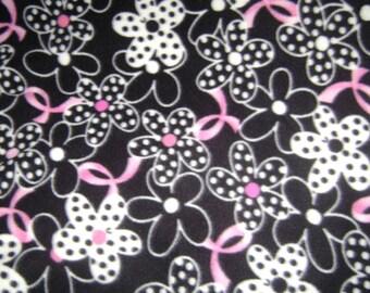 Black & White flower power breast cancer fleece blanket