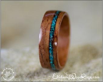 Bubinga Wood Ring With Chrysocolla Stone Inlay. Wood Wedding Ring, Mens Wood Ring, Womens Wood Ring, Wood Engagement Ring, Bent Wood Rings,