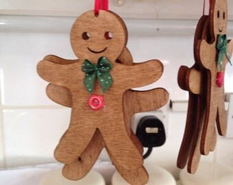 Handmade wooden gingerbread man decoration hanging christmas tree kitchen plaque