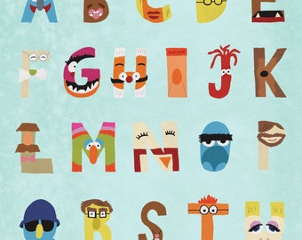 The Muppets Alphabet: Hand Lettered Print