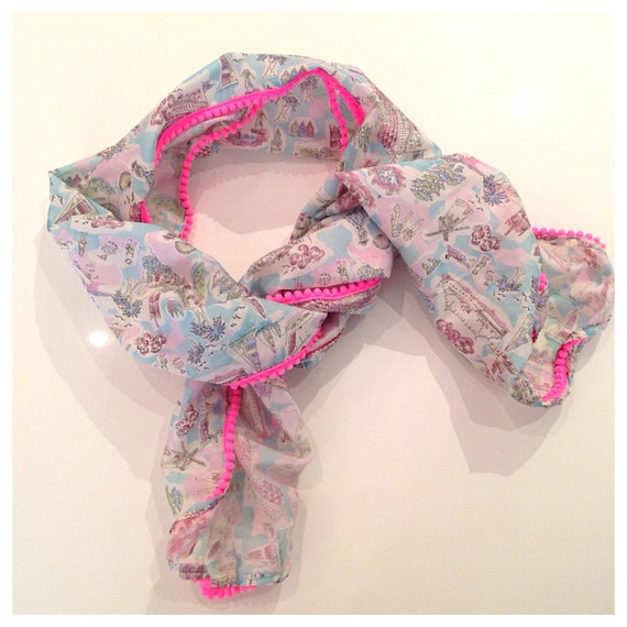 Isle of Wight Liberty Print Fabric hot neon pink mini Pom Pom  scarf