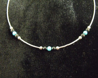 Sterling Liquid Silver Turquoise and Black Onyx Necklace - Handmade