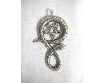 New Satanic Occult Inverted 5 Point PENTAGRAM STAR in Twisted Serpent SNAKE Solid Hand Cast Pewter Pendant on Adjustable Cord Necklace