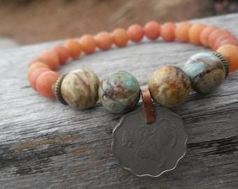FREE U.S. SHIPPING, JasperBracelet,Nature Bracelet, Vintage Coin Bracelet,Balancing Bracelet,Strength Bracelet,Chrysocolla Bracelet