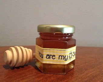 You are My Sunshine,Mini Honey Jars Favors, Baby Shower Favor,Tea Party,Bris Favor with Dipper