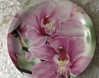 Stunning Orchid decorative Plate  10 inch diameter