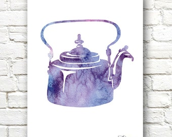Antique Teapot Art Print - Abstract Watercolor Painting - Wall Decor