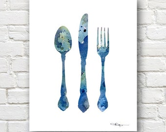 Knife Fork Spoon Art Print -Abstract Watercolor Painting - Kitchen Wall Decor