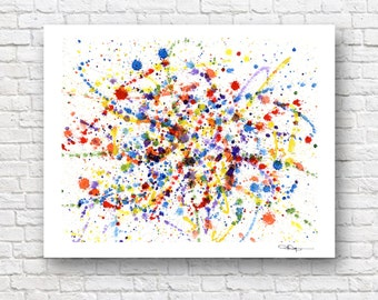 "Abstract Watercolor Painting - ""Full Pallet"" - Art Print - Contemporary Wall Decor"