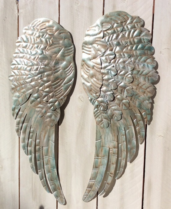 Rustic Angel Wings Wall Decor : Large metal angel wings wall decor rustic turquoise silver