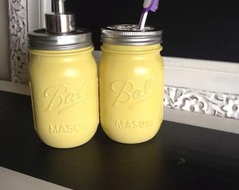 Yellow Ball Mason Jar Soap Dispenser or Toothbrush Holder