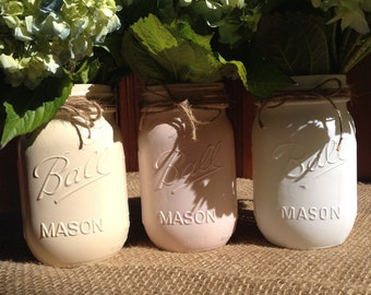 Blushing Mason Jar Vases 3 Set