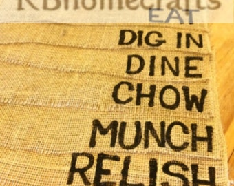 Burlap Placemats - Placemats with Phrases - 4 or 6 Phrases - Placemats - Burlap Decor - Burlap - Munch - Dig In - Chow - Eat - Dine - Relish