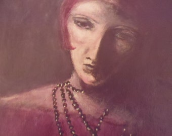 Original Figurative Painting,flapper,woman,1920's,burgundy,red,art deco.