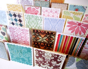 "2"" x 2"" Mini Blank Note Cards / Mini Thank You Enclosures / Square Gift Tags / Assorted Patterns  / Set of 20"
